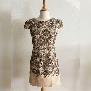 Tibi Floral Capsleeve Cocktail Dress Size 4 Tan